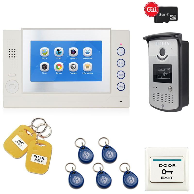 JEX New 7 inch LCD Video intercom door phone system kit video recording Monitor RFID Access Control IR Camera FREE SHIPPING