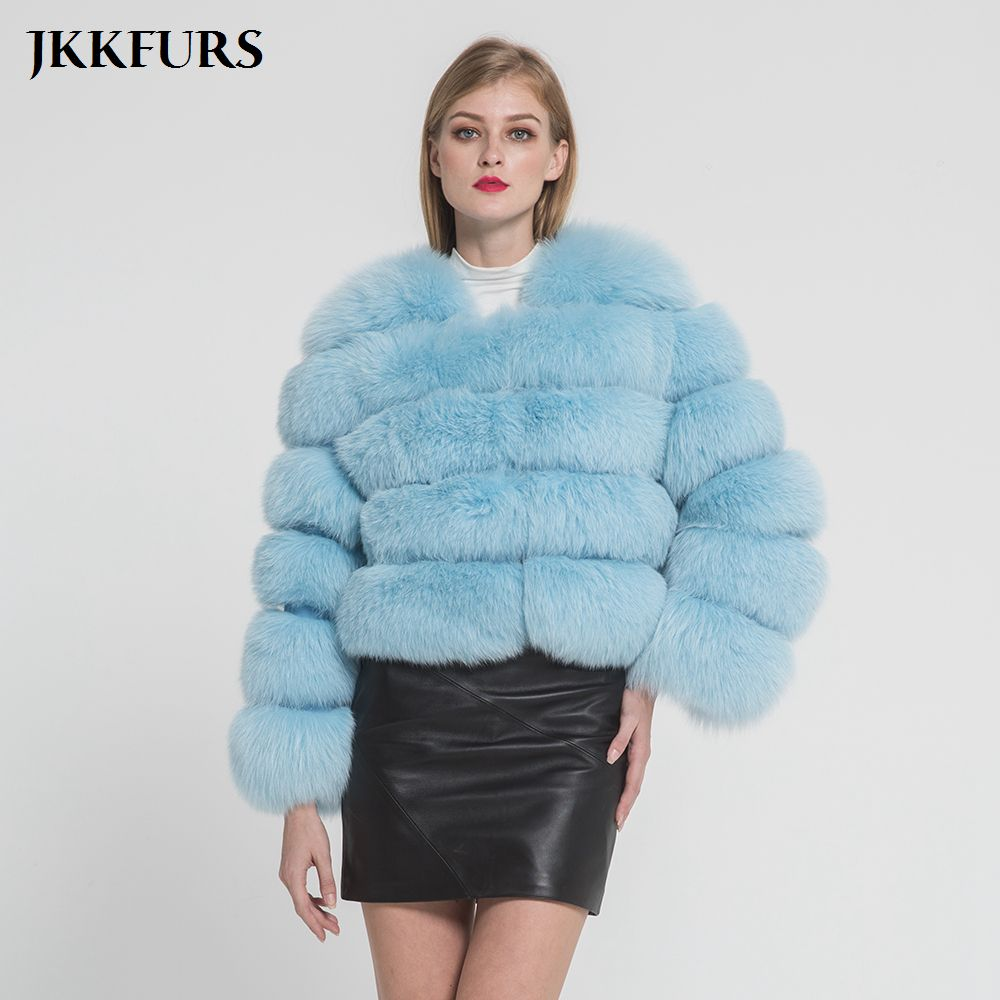 Real Fox Fur Coats Luxury Findland Fox Fur Jacket Women's Genuine Natural Fur Winter Warm Outwear Fashion Style Crop S1797