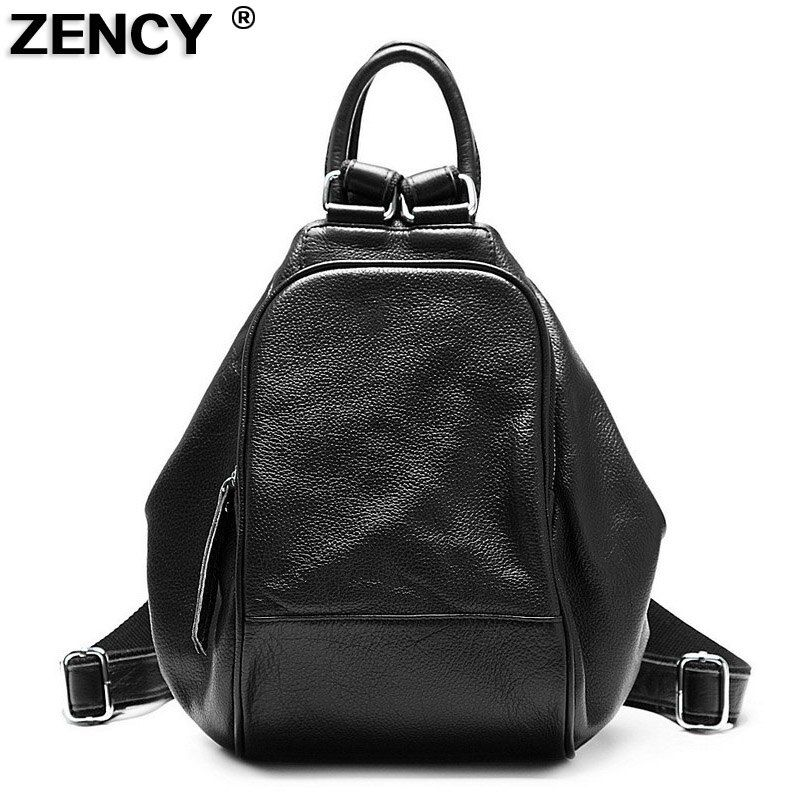 ZENCY 2018 Fashion 100% Soft Natural Genuine Leather Shoulder Women's Backpack Women Ladies First Layer Real Cowhide Casual Bag