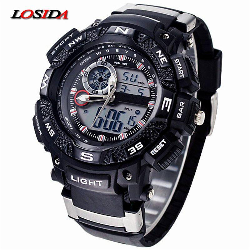 Losida G Стиль шок Водонепроницаемый открытый Спортивные часы Для мужчин кварцевые часы цифровой Военная Униформа наручные часы Relogio Masculino