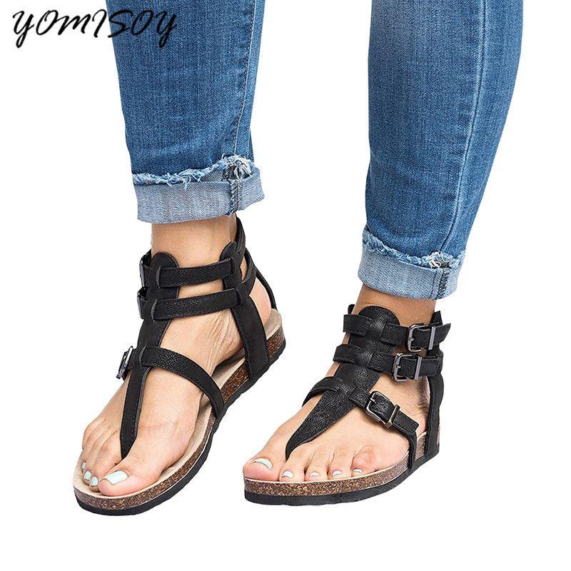 2018 Summer Sandals Women Casual Shoes Female <font><b>Rome</b></font> Gladiator Sandals Women Flat Buckle Feminina Sandals