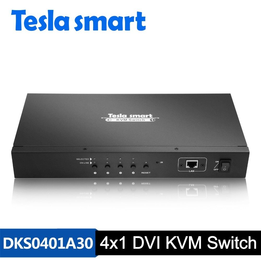 DHL Free Tesla smart DVI KVM Switch 4 Port with IP Control USB2.0 Audio 3840*2160(4K*2K) has 2 Pcs Rack Ears Standard 1U Height