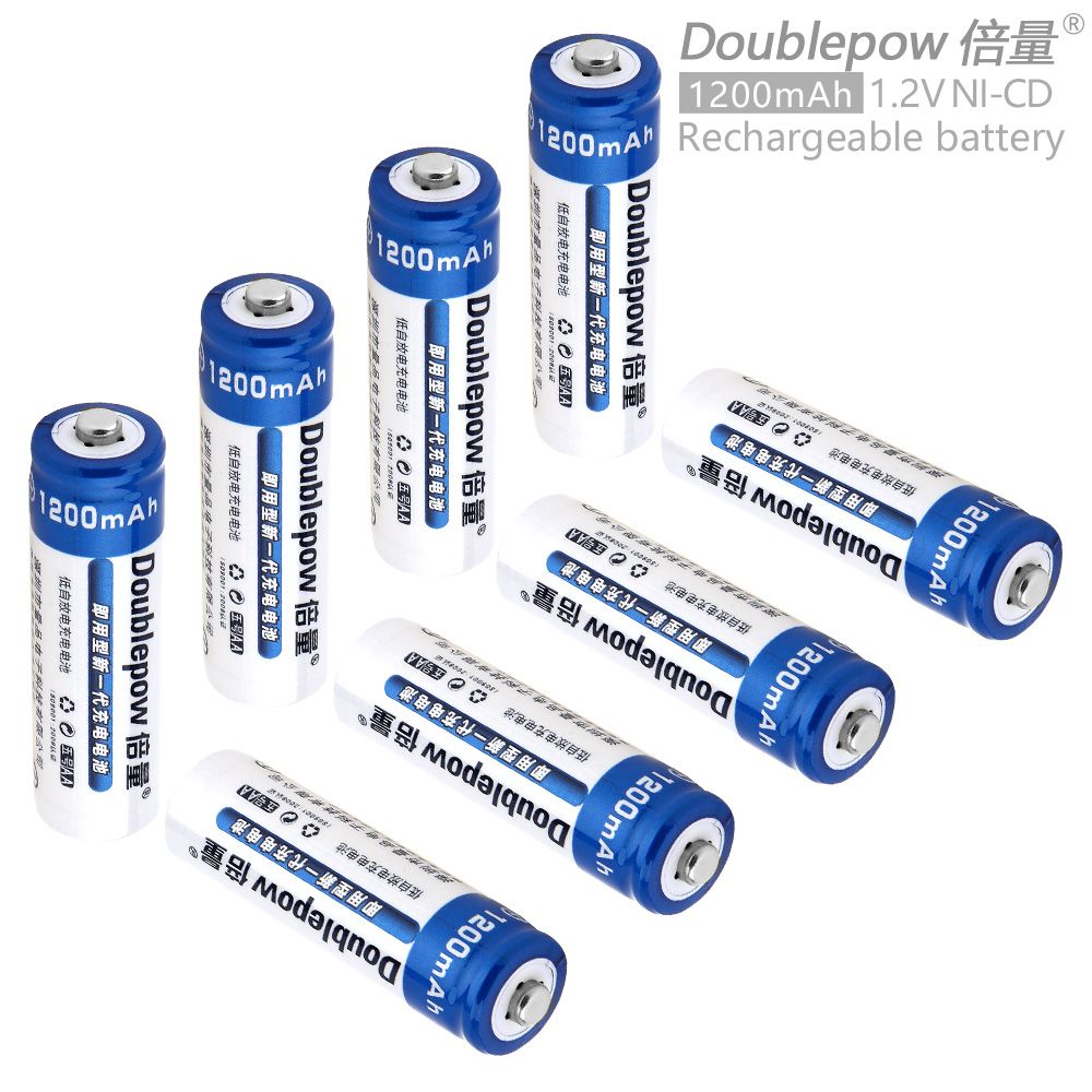 Doublepow 8pcs 1.2V 1200mAh Ni-CD AA Battery Rechargeable LSD Batteries with 1200 Cycle for Toys Digital Camera MP4