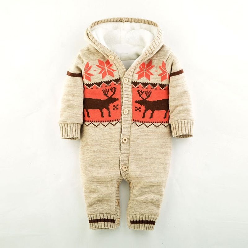 Baby Warm Thick Winter Knitted Sweater Rompers Newborn Boys Girls Jumpsuit Climbing Clothes Christmas Deer Hooded Outwear