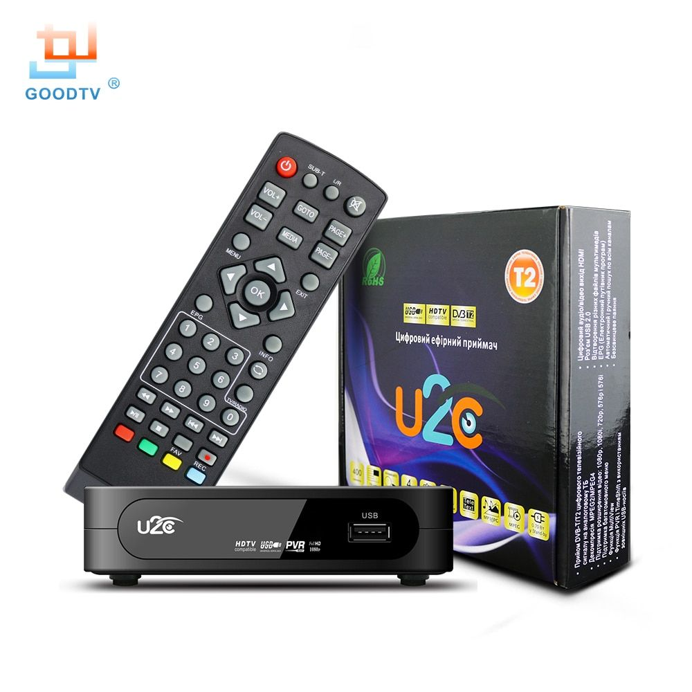 U2C DVB-T Smart TV Box HDMI DVB-T2 T2 STB H.264 HD TV Digital Terrestrial <font><b>Receiver</b></font> DVB T/T2 Set-top Boxes Free Tv Russia