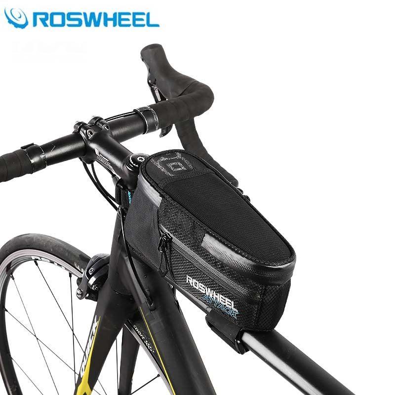 Roswheel Fahrrad Taschen Schwarz Wasserdicht MTB Rahmen Straße Mountainbike Top Rohr Tasche Radfahren Lenker Pannier Zubehör