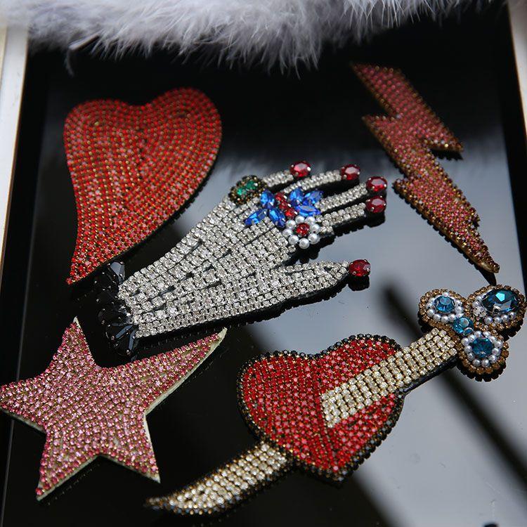 Main Strass sequin Correctifs pour vêtements Coudre sur patch perles main appliques coeur décoratif dessèche bordados para ropa
