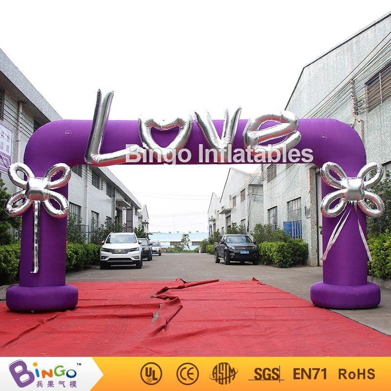 Hot sale 6X3 m inflatable purple wedding arch with love letters and bow for valentine's day decoration portable romantic archway