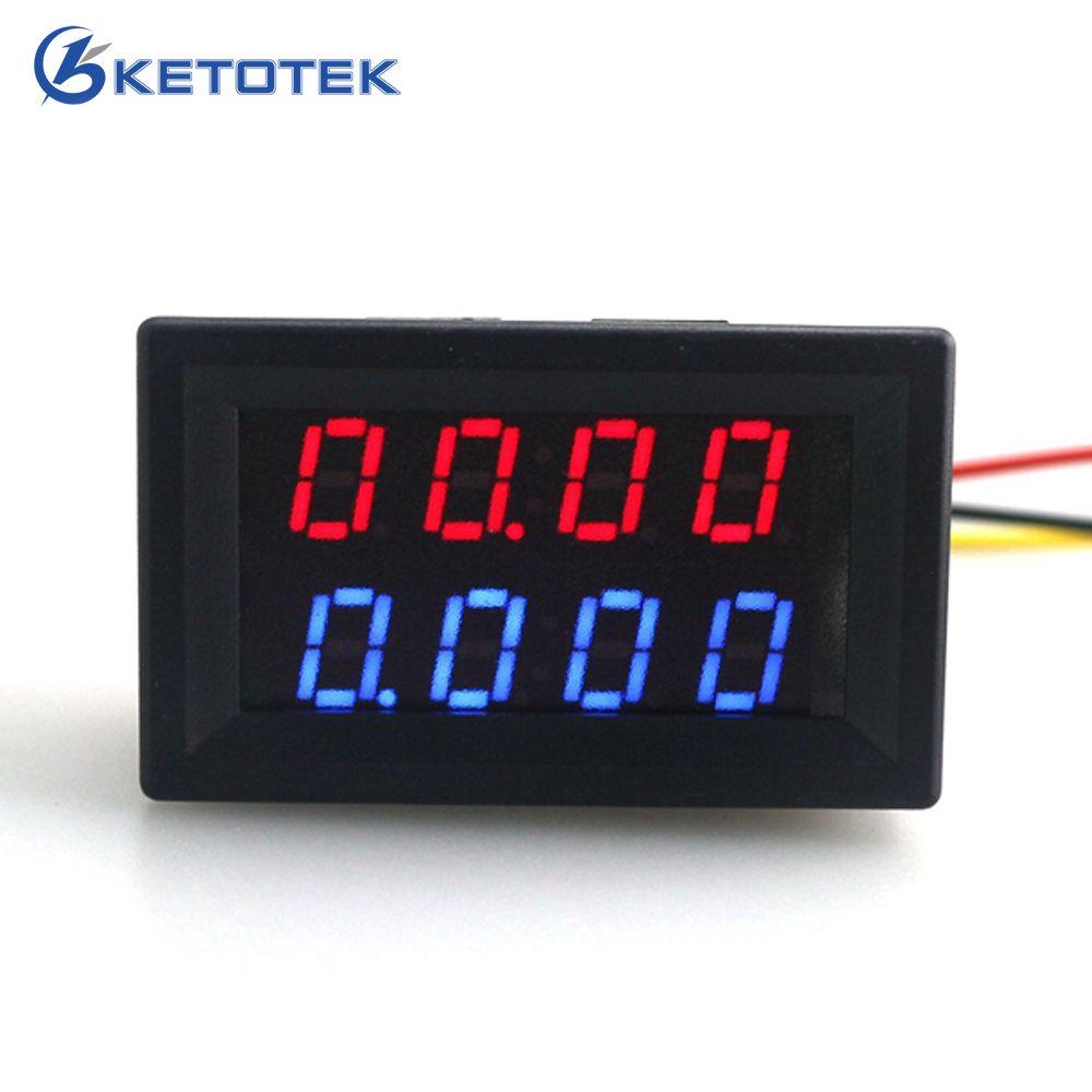 Цифровой DC 200 В 0-10A Вольтметр Амперметр красные, синие светодиодный двойной Дисплей для 12 В 24 В автомобиля Напряжение Ток монитор нет необход...