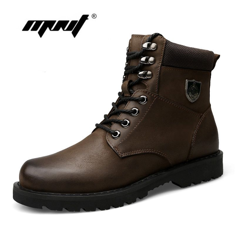 Autumn And Winter Add Fur Men Boots Top Quality Comfortable Men Winter Shoes Natural Leather Waterproof Snow Boots
