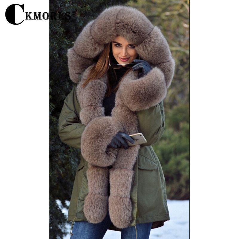 CKMORLS 2018 New Natural Fox Fur Jackets For Women Fur Parkas Casual Streetwear Harajuku Goth Long Coat Plus Size Long Fur Parka