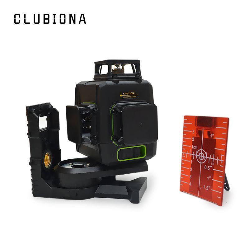 Niveau Laser Clubiona 3D 12RC 12 lignes avec batterie 5200 mah et lignes horizontales et verticales fonctionnent séparément lignes de faisceau Laser rouge