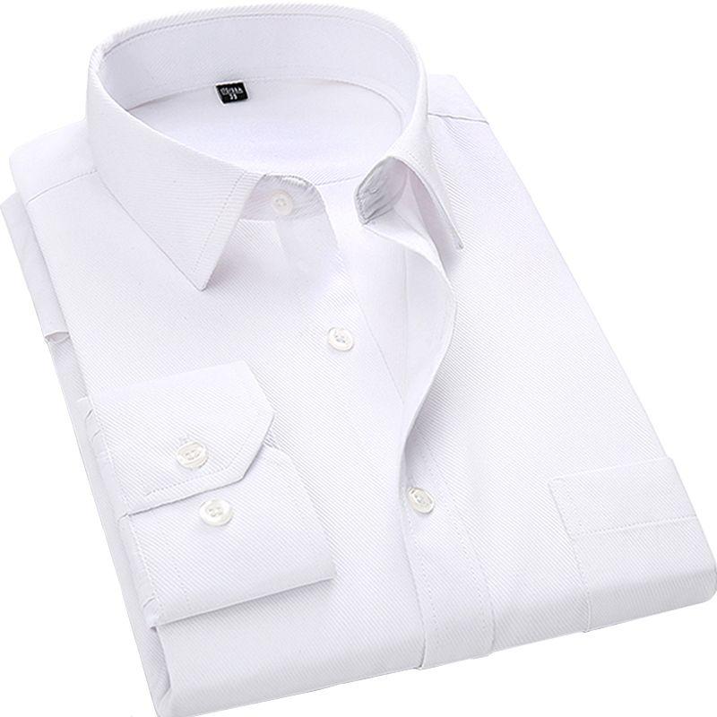 4XL 5XL 6XL 7XL 8XL Large Size Men's Business Casual Long Sleeved Shirt <font><b>White</b></font> Blue Black Smart Male Social Dress Shirt Plus