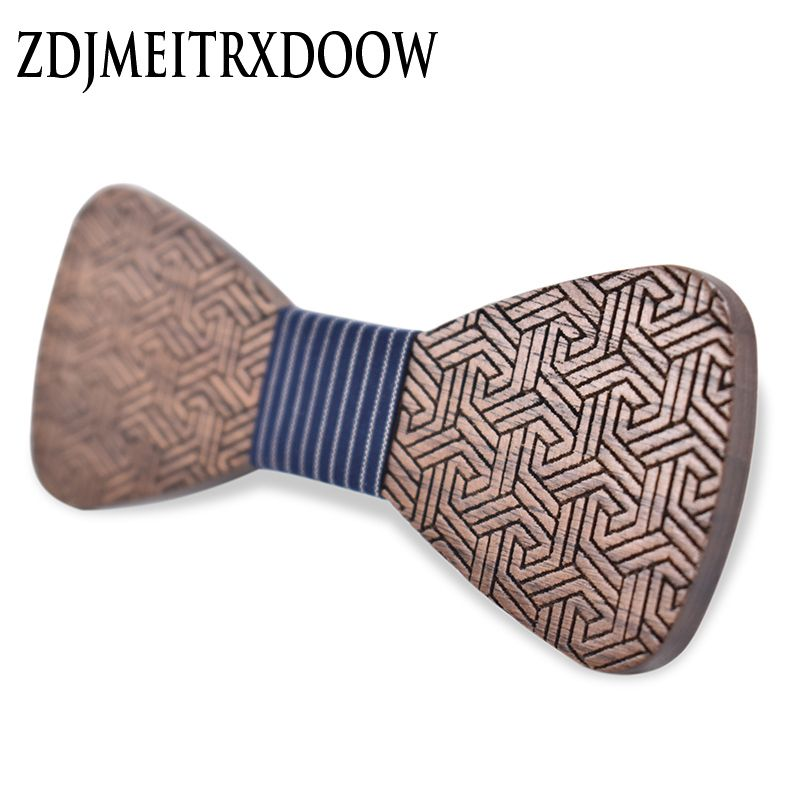 2017 brand new wood bow print Chinese style window flower suit banquet, wooden bow tie business wooden tie package gift box