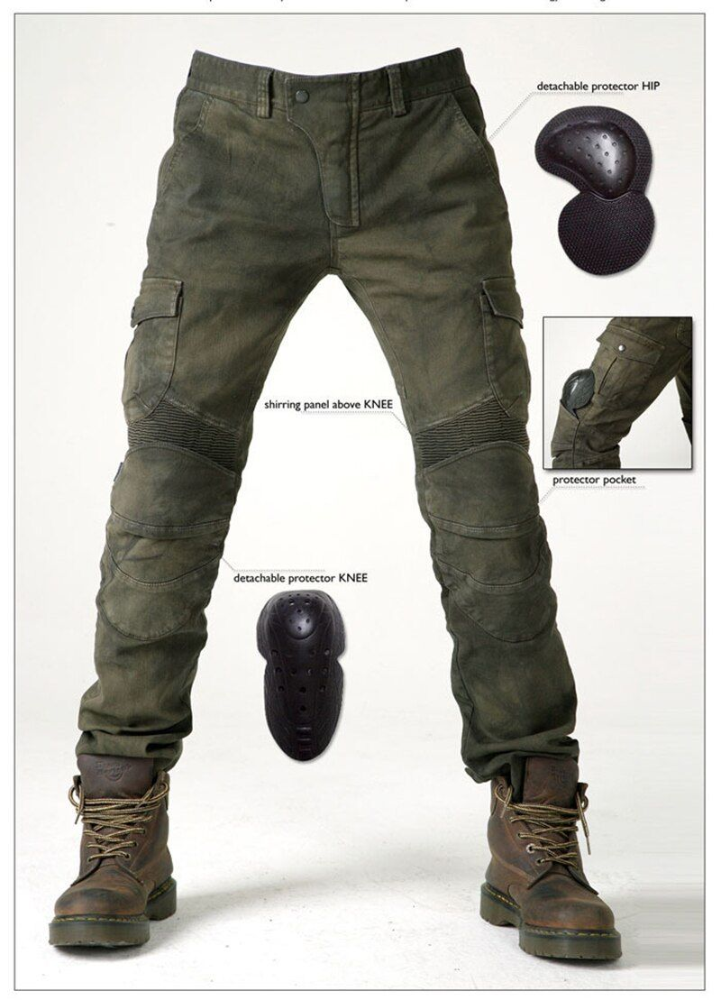 Newest 2017 Komine Motorpool Ubs06 Army Green Slacks Jeans Motorcycle Ride Jeans Leisure Loose Version with Protect Equipment