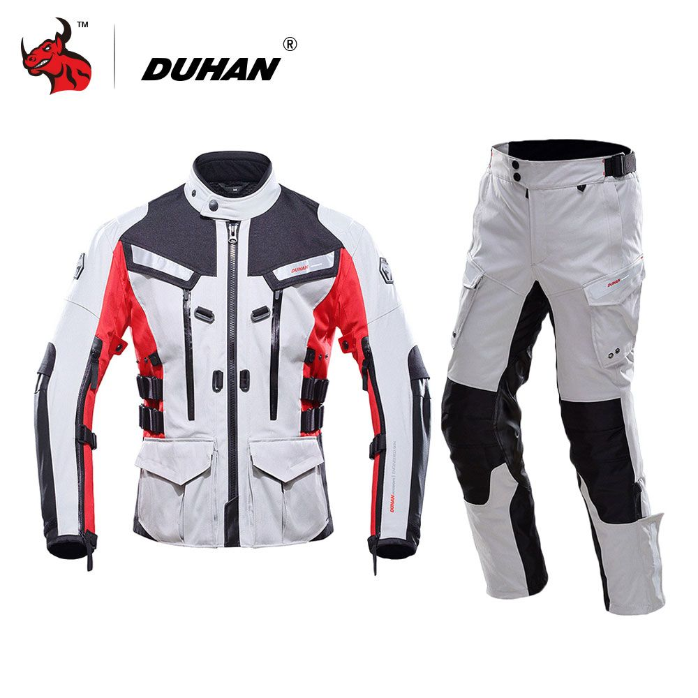 DUHAN Motorcycle Jacket Waterproof Moto Jacket Men's Motocross Clothing Motorcycle Suit With Elbow Shoulder Back CE Protector