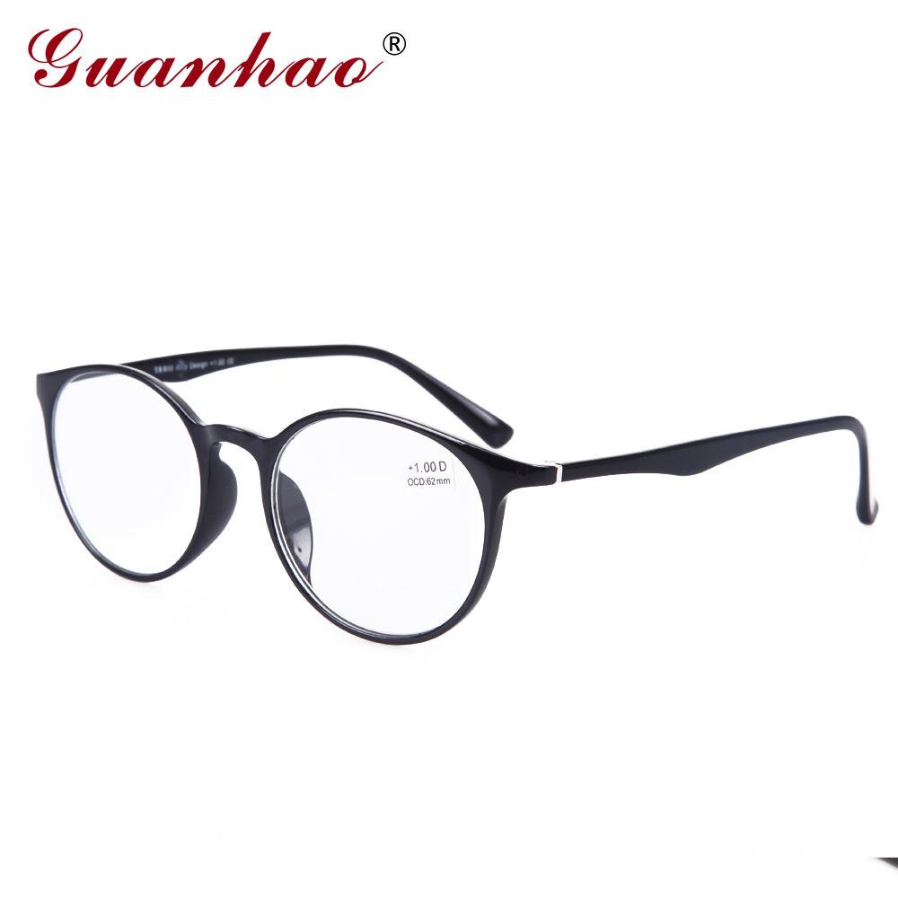 GuanHao grand rond hommes femmes lunettes transparentes clair ultraléger TR90 monture de lunettes acétate Temples lunettes de lecture 1.5