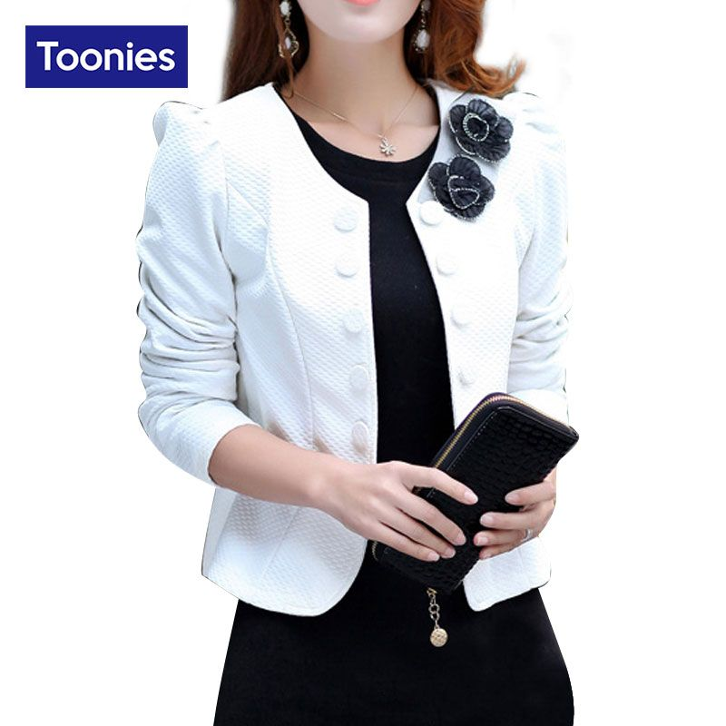 2017 Autumn Long Sleeve Double Breasted Blazer Suit Womens Coat Short Back Bow Blazers Flower Appliques Formal <font><b>Office</b></font> Lady Tops