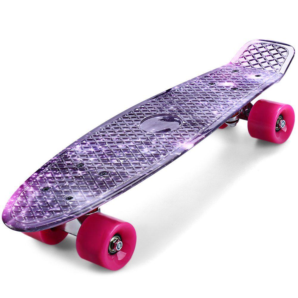 CL-95 Skateboard Impresión Outlife Misterioso Púrpura Cielo Estrellado Patrón Completo 22 pulgadas Retro Cruiser Longboard Para Niño