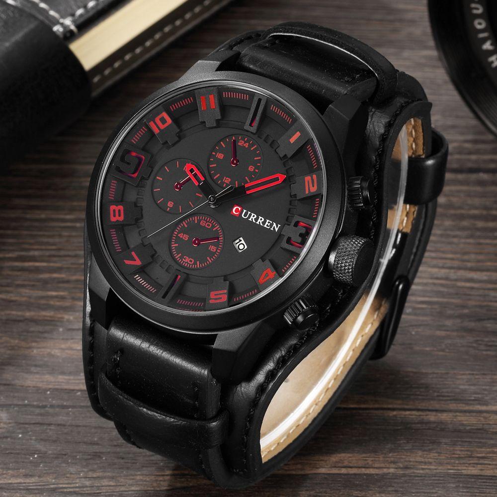 CURREN Men's Top Brand Luxury Quartz Watches Men's Sports Quartz-Watch Leather Strap Military Male Clock Fashion New Sale Gift