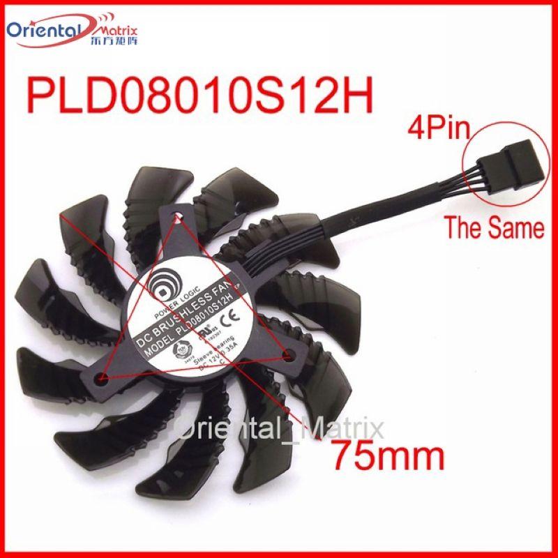 Freies Verschiffen PLD08010S12H PLD08010S12HH 12 V 0,25A 75mm Für Gigabyte Grafikkarte Lüfter 4Pin