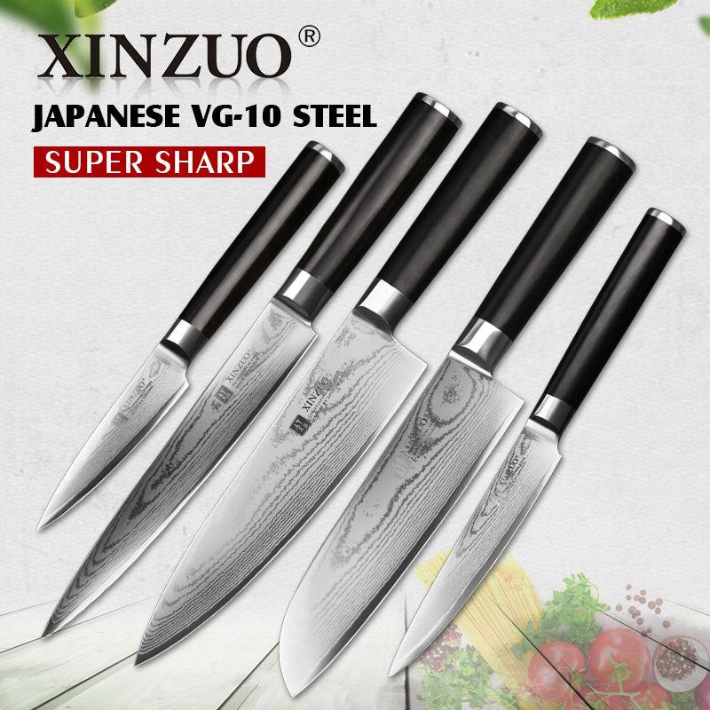 XINZUO 5 stücke küchenmesser set schäl utility cleaver Damaskus kochmesser Japanischen VG10 stahl Küchenmesser sharp kostenloser versand