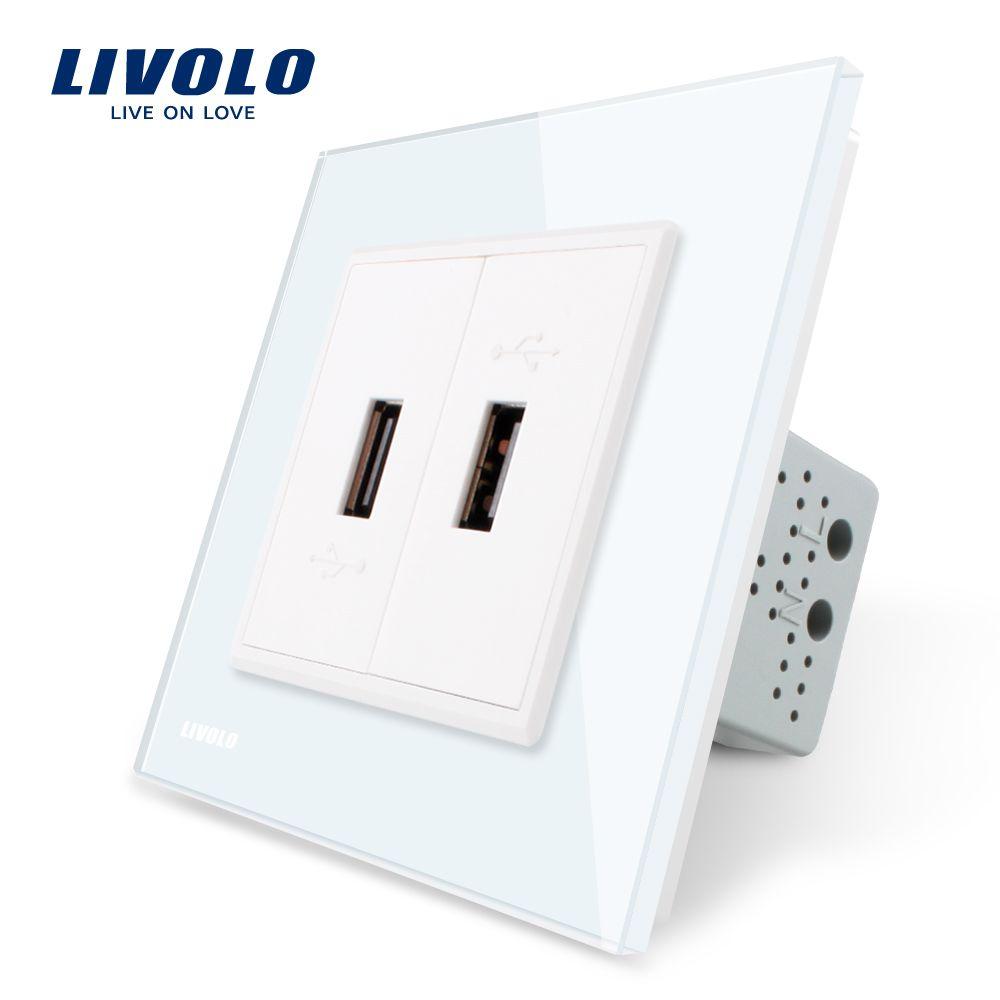 Livolo White Crystal Glass Panel, Two Gang USB Plug Socket / Wall Outlet VL-C792U-11/12/13/15,4colors