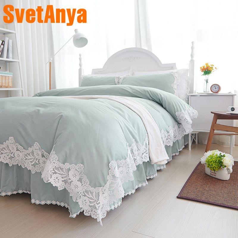 Svetanya Lace Princess Bedding sets Cotton Bedlinen Full Queen King size Duvet cover Coverlet Pillowcases