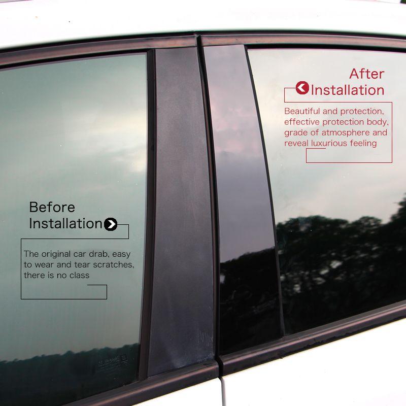 Brillant noir voiture BC fenêtre pilier anti scratch miroir surface autocollant PC post couverture fit pour Toyota REIZ RAV4 COROLLA LEVIN