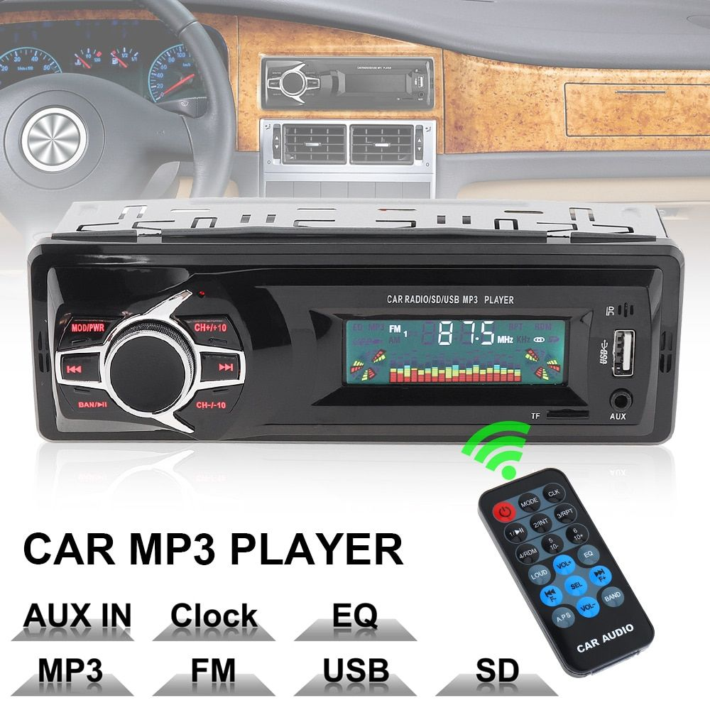 12V LCD Display In-Dash Auto Car Radio MP3 Player Vehicle Stereo Audio Aux Input Receiver Support TF FM USB SD + Remote Control