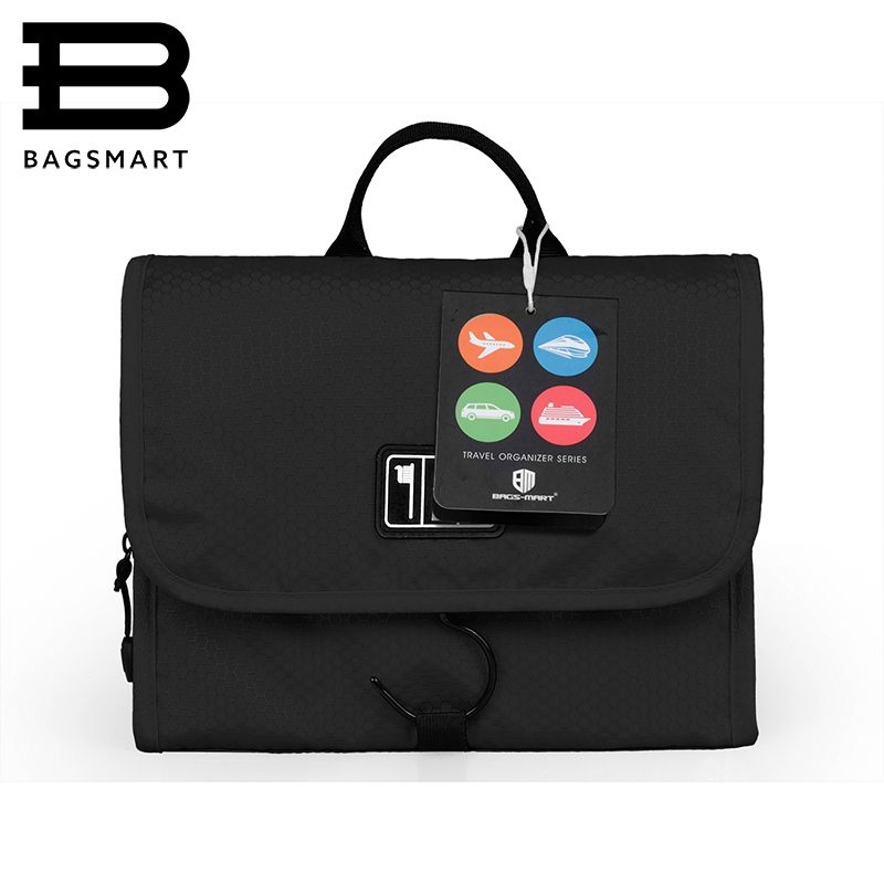 BAGSMART Waterproof Travel Toiletry Bag With Hanger Cosmetic Packing <font><b>Organizer</b></font> Wash Bag Makeup Bag Pack Your Luggage Suitcase
