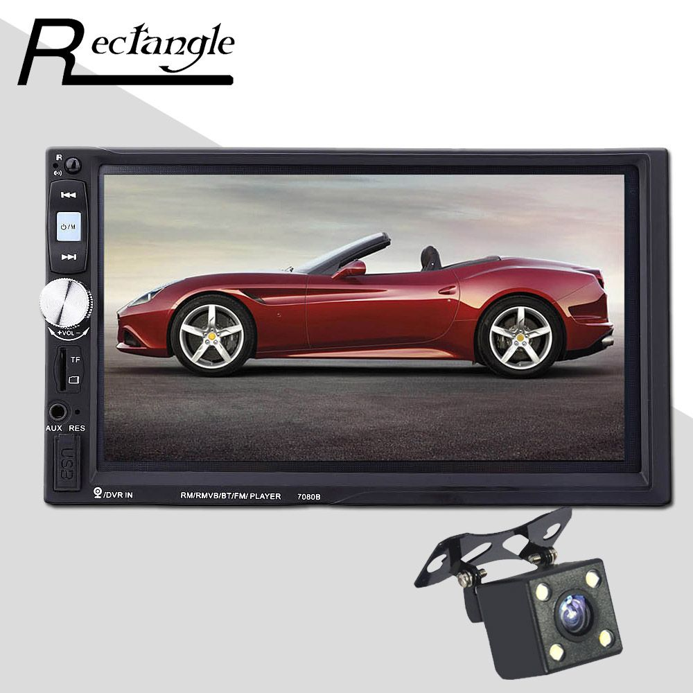 Rectangle 2 Din 7080B Car MP5 Player 7 Inch Touch Screen Auto Car MP4 Video Player Radio Remote Control With Rear View Camera