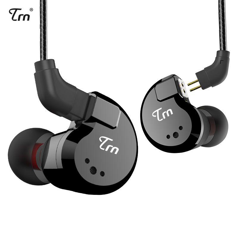 TRN V80 2DD + 2BA Hybride Dans L'oreille Écouteurs HIFI DJ Moniteur de Course Sport Écouteurs Boules Quies Casque Avec 2PIN Amovible TRN V20/V60