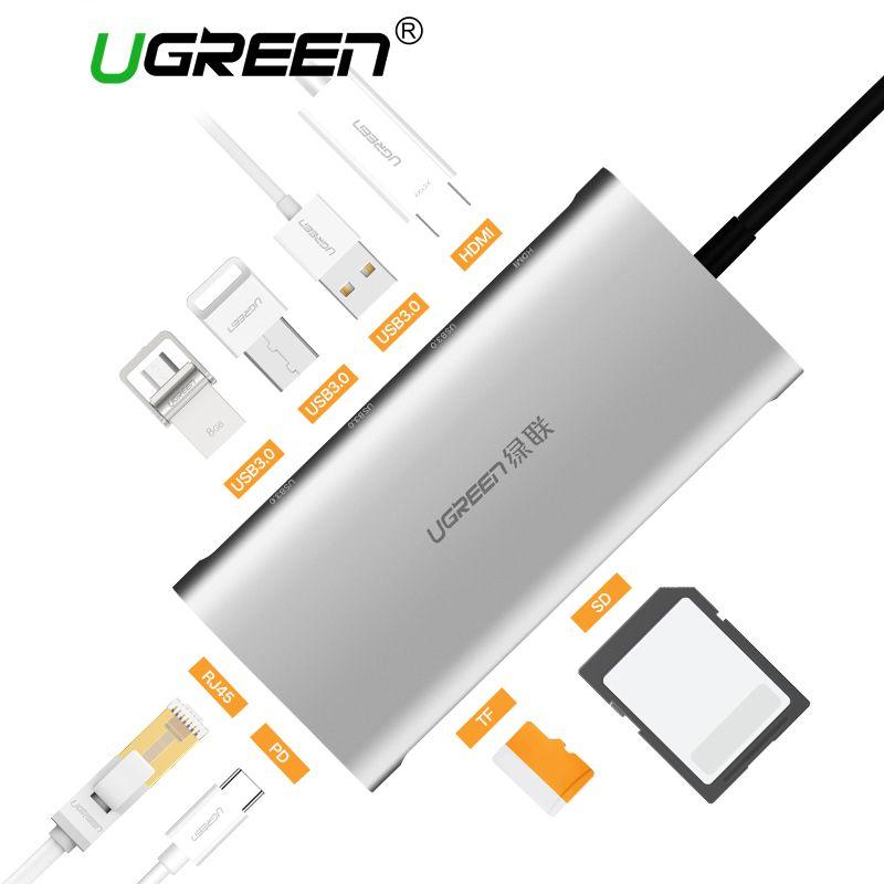 Ugreen USB HUB All in One USB-C to HDMI VGA Card Reader RJ45 PD Adapter for MacBook Samsung Galaxy S8/S8+/S9 Type C HUB USB 3.0