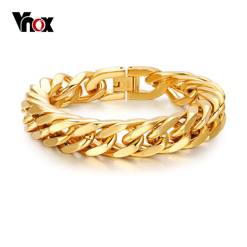 Vnox Mens Chain Link Bracelet 15mm Wide Stainless Steel Wrist Band Hand Gold Color Bracelet Male Jewelry <font><b>Gift</b></font> Pulseira