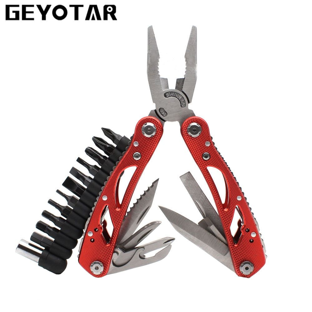 Pince multi-outils d'extérieur réparation couteau de poche pli tournevis ensemble pêche survie poche Portable Multi EDC outils à main bricolage