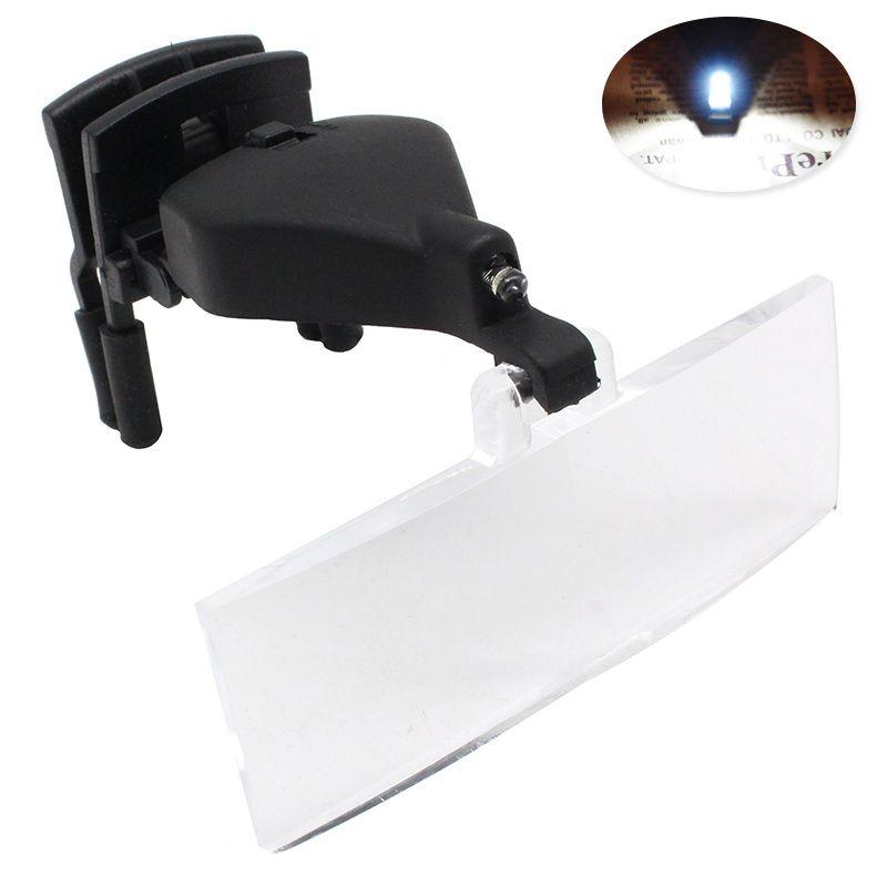1.5X 2.5X 3.5X Loupe de lunettes de vue illuminée Multipower avec Clip Loupe de Loupe éclairée à la troisième main pour Vision basse
