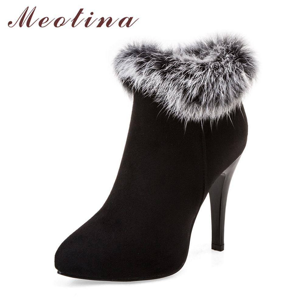Meotina Sexy femmes bottes hiver talons hauts bottines chaussures femmes automne dames bottes courtes neige fourrure Zip blanc rouge grande taille 11 45