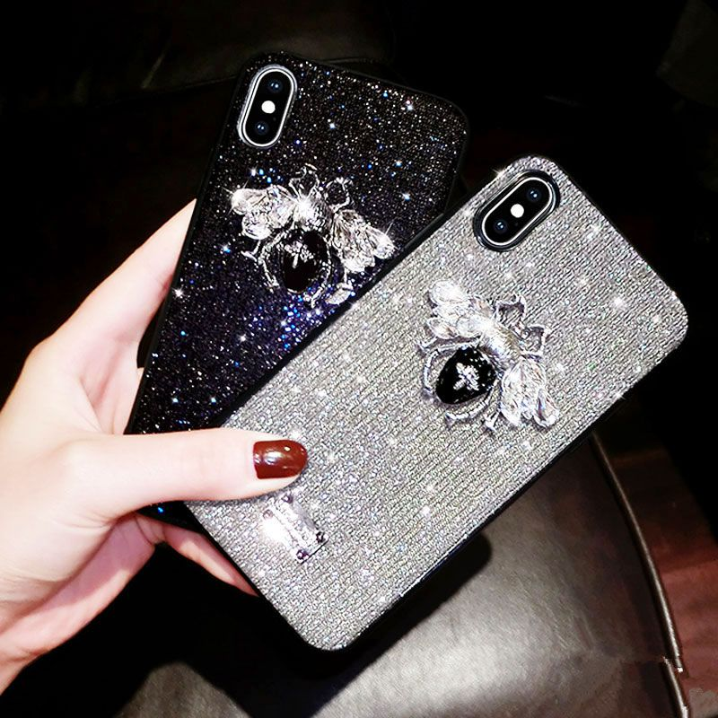 Bling Glitter Phone Case for iPhone 6 6s 7 8 Plus X XR XS Max Fashion Brand 3D Bee Luxury Cute Back Cover Cases Funda Capa Coque
