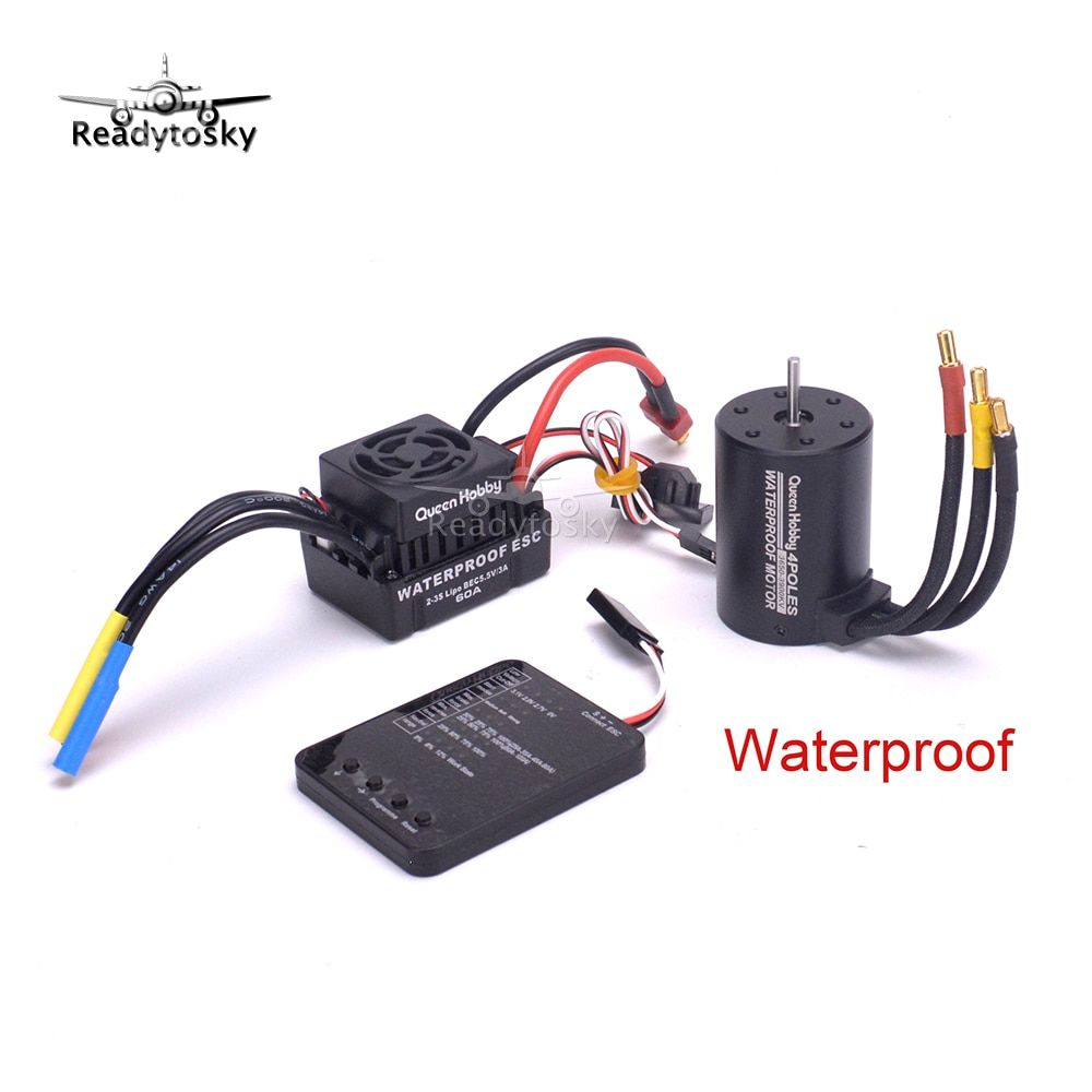 NEW Upgrade Waterproof 3650 3900KV RC Brushless Motor + 60A ESC + Programmer Combo Set for 1/10 RC Car Truck Motor kit