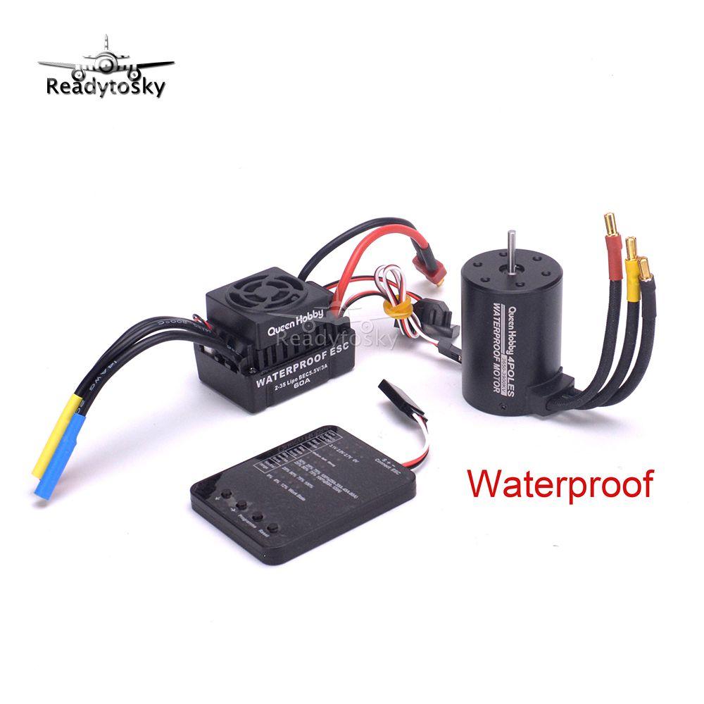 NEW Upgrade Waterproof 3650 3900KV RC Brushless Motor + 60A ESC + Programmer Combo Set for 1/10 RC Car Truck Motor kit
