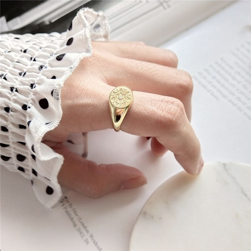 INZATT Real 925 Sterling Silver Gothic Totem pattern Openwork Ring For Women Round Square Styles Fashion Jewelry Accessories