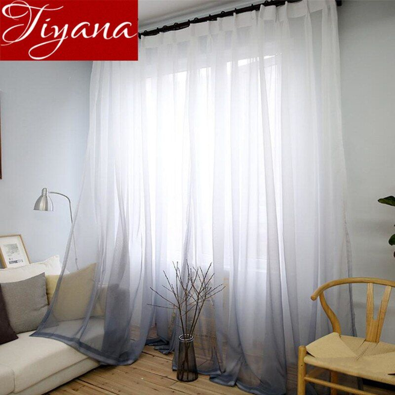 Vorhänge Farbverlauf Druck Voile Grau Fenster Moderne Wohnzimmer Vorhänge Tüll Sheer Stoffe Rideaux Cortinas T & 185 #30