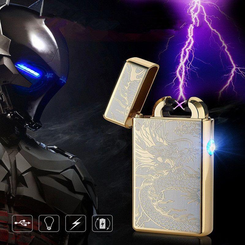 Chine Dragon LED Croix Double Arc Briquet Électronique USB Impulsion Coupe-Vent Briquets à Cigarettes En Métal Briquet Cadeaux-8013