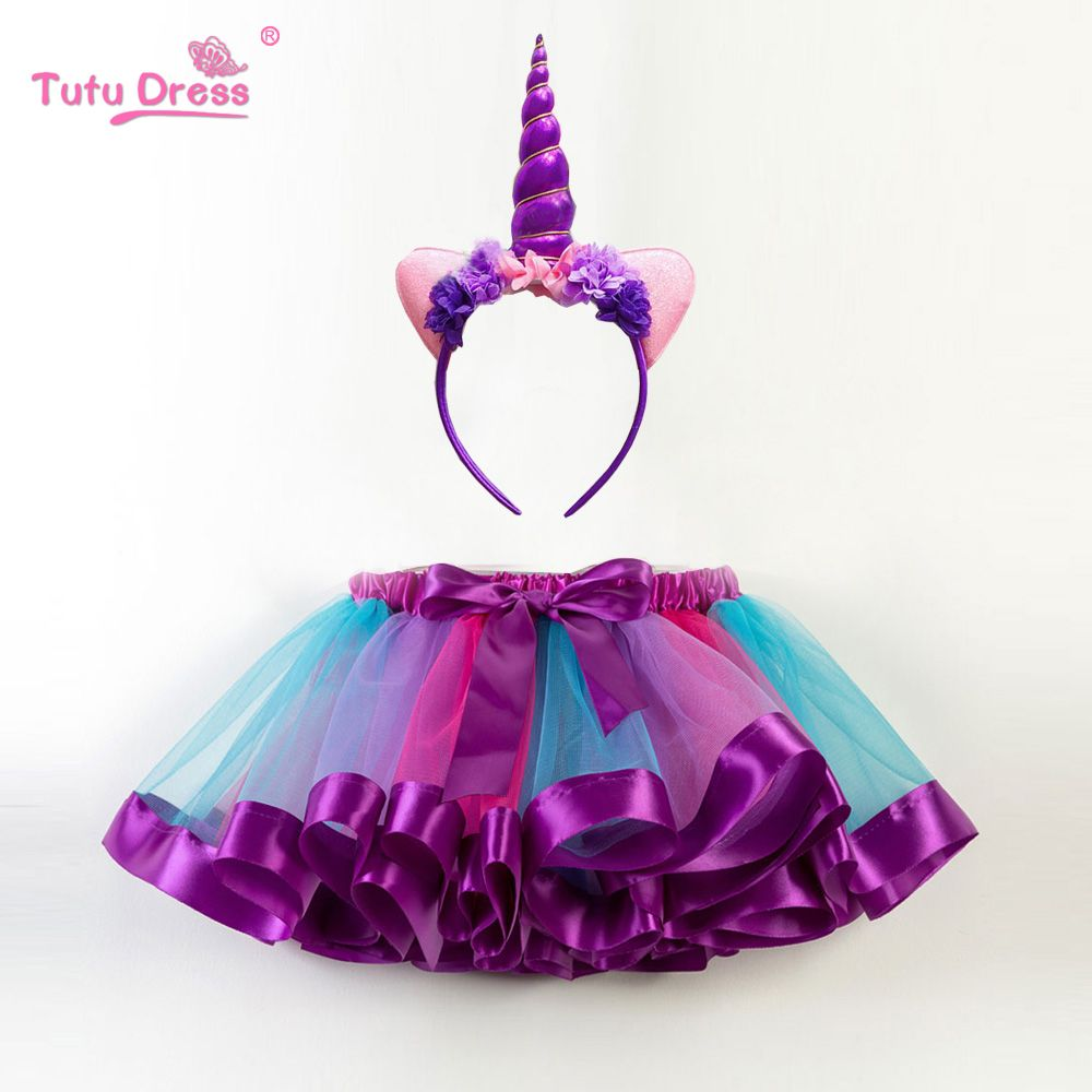 New Fashion Sweet Toddler Kids Baby Girls Clothes Tutu Skirt Outfits Cute Children Tulle Skirt + headband Rainbow Skirt