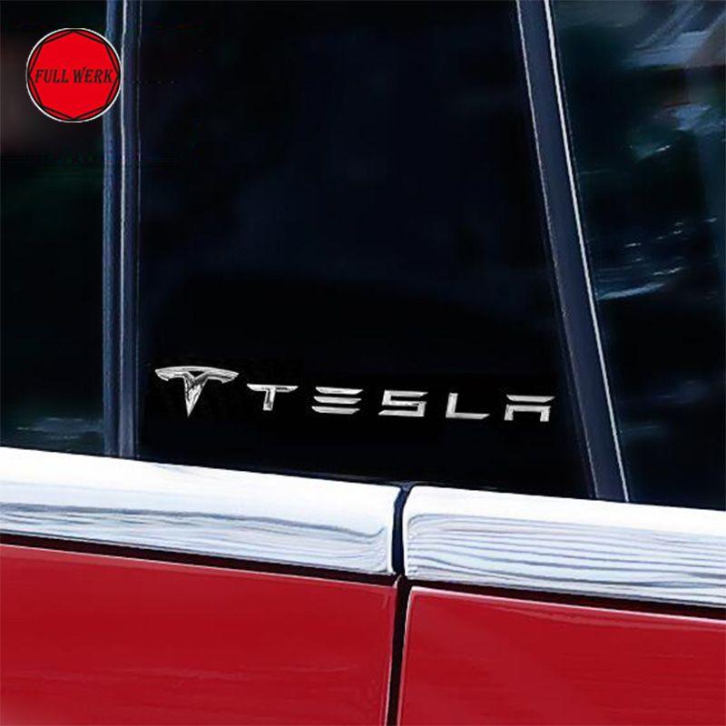 Voiture carrosserie autocollant Alu décoration décor pour Tesla modèle S voiture fenêtre autocollant extérieur accessoires lot de 2 pièces