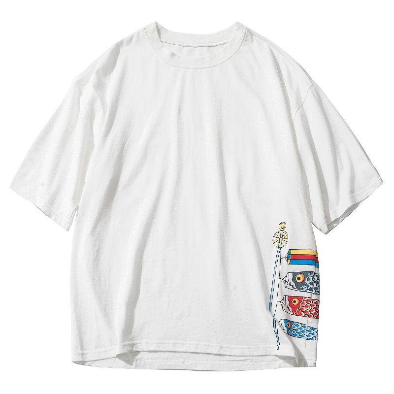 3576P Je t-shirts à manches courtes marée restauration anciennes façons d'été porter lâche dessin animé