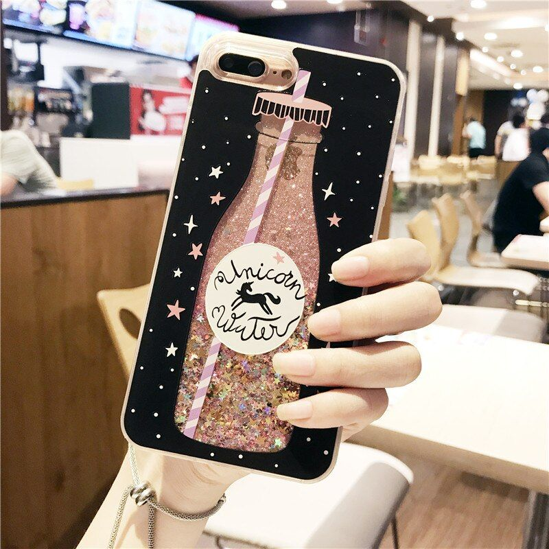 Drink bottle quicksand Case for iphone 7 7Plus Dynamic liquid glitter Case For iphone X 6 6s 8 8plus 6Plus girl style