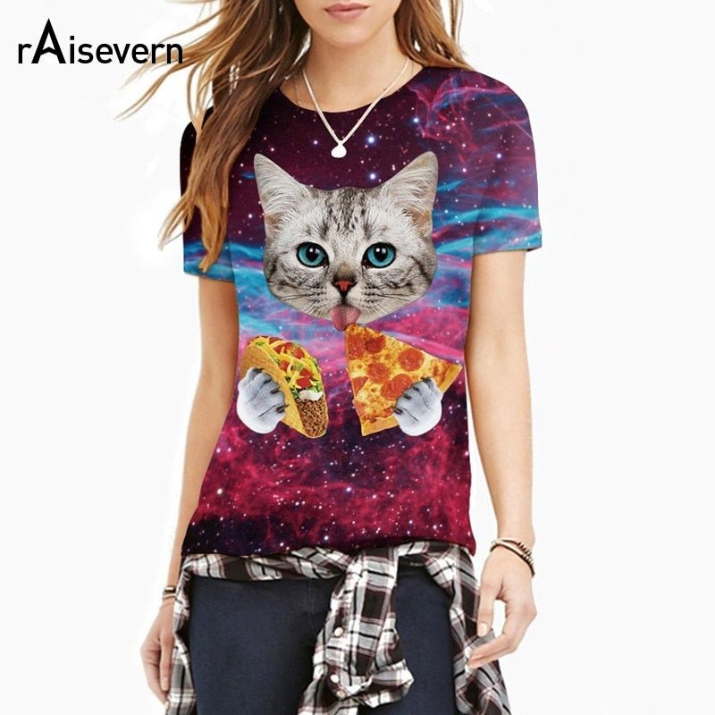 Raisevern 2019 nouveau Galaxy Space 3D t-shirt belle chaton chat manger Taco Pizza drôle hauts t-shirt à manches courtes d'été chemises