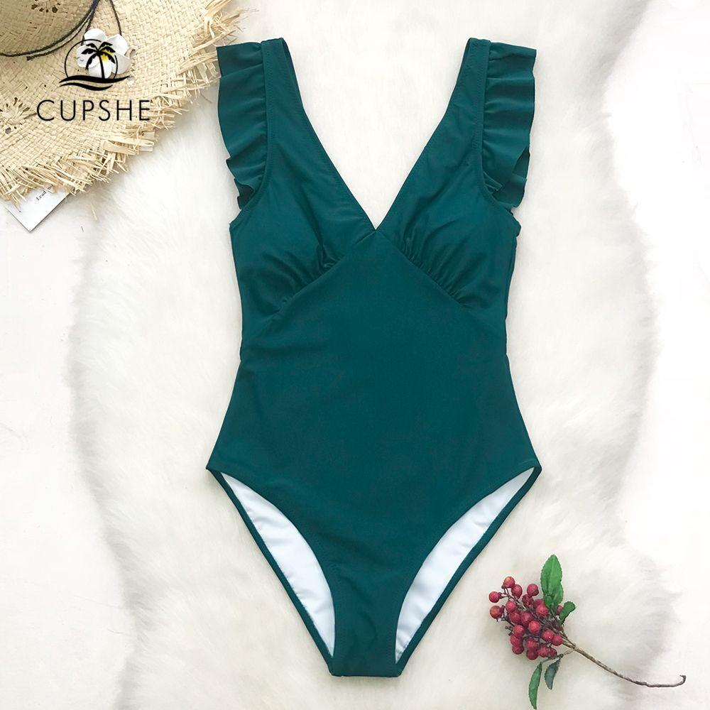 CUPSHE vert sarcelle plongeant solide une pièce maillot de bain femmes à volants ruché Monokini 2019 fille plage maillots de bain